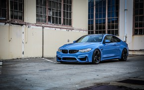 Picture BMW, blue, sport coupe, black wheels, M Performance
