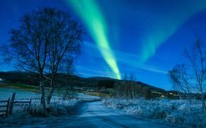 Wallpaper Kvæfjord municipality, the sky, Norway, Troms, Koford, Troms, Norway, road, trees, Northern lights, winter