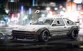 Picture Auto, Figure, Machine, White, Toyota, Car, Car, Art, Art, AE86, Rendering, Speedhunters, Tribute, Yasid Design, …