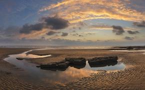 Picture sand, sea, beach, the sky, the sun, clouds, stones, dawn, coast, horizon, Bay, UK, Wales, …