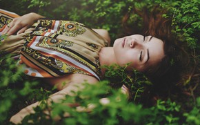 Wallpaper grass, girl, sleep, spring, sleeping, Kris, Vladislav Selvvin