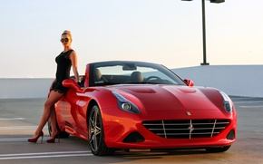 Wallpaper Ferrari, supercar, California, girl, Ferrari, CA