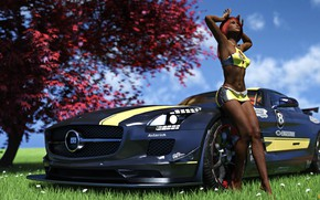 Picture grass, tree, woman, car, Her car