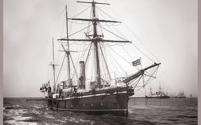 Wallpaper retro, ship, sailing, One thousand eight hundred eighty eight