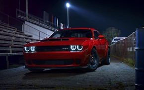Picture Challenger, red, sportcar, Night, 2018, musclecar, SRT, Demon