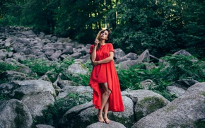 Picture girl, stones, red dress