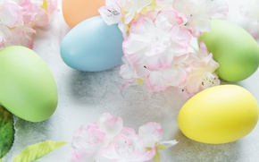 Picture flowers, Easter, flowers, spring, Easter, eggs, Happy, the painted eggs