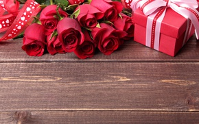 Wallpaper beautiful, colorful, roses, bow, roses, romance, gift, Valentine's day, romance, Valentine's Day, gift, tape, red