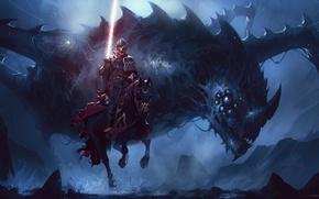 Picture dark, fantasy, armor, eyes, wings, dragon, horse, artwork, warrior, fantasy art, Knight, spear, horn, spear …