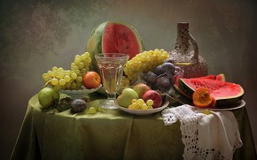 Picture table, apples, glass, watermelon, grapes, plates, pitcher, fruit, still life, plum, peach, tablecloth