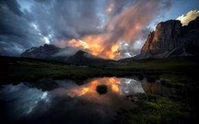 Picture mountains, lake, morning