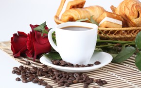 Picture coffee, roses, grain, Cup, red, cakes, sweet, coffee, breakfast, roses