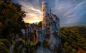 Picture forest, the sky, trees, bridge, rock, castle, tower, Germany, Lichtenstein, Liechtenstein