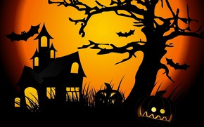 Picture night, the moon, Halloween