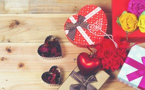 Picture holiday, box, gift, heart, Valentine's day