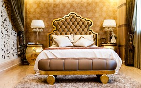 Wallpaper luxury, bedroom, gold, bed, lamps, mansion
