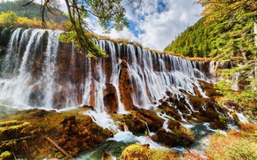 Wallpaper forest, clouds, trees, mountains, branches, Park, waterfall, China, Sunny, the bushes, reserve, Jiuzhaigou