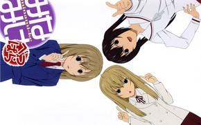 Picture tie, school uniform, art, gestures, three girls, sailor, minami-ke, koharu sakuraba, sister mine, kana minami, ...