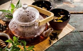 Picture tea, Board, kettle, mint
