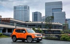 Picture skyscrapers, jeep, Orange, car, Jeep, Limited, Renegade