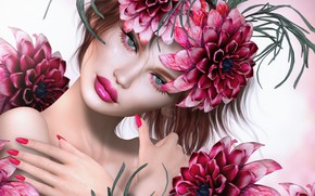 Picture eyes, look, flowers, face, background, petals, lipstick