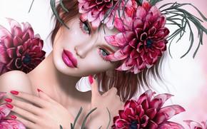 Wallpaper face, eyes, lipstick, background, petals, look, flowers
