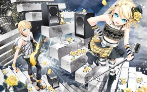 Picture girl, roses, guitar, anime, art, guy, Vocaloid, Vocaloid, characters, kalonki, Rin, Len, yellow roses
