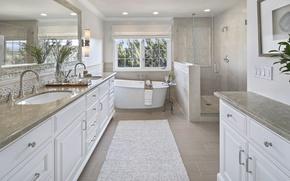 Picture design, mirror, window, bath, wardrobe, mansion, Design, Bathroom, Interior