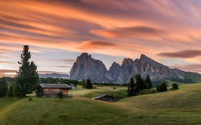 Picture the sky, grass, clouds, trees, sunset, mountains, rocks, field, Alps, houses, meadows, Slovenia