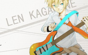 Picture look, background, anime, guy, Vocaloid, Vocaloid, Kagamine Len