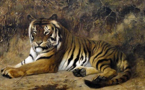 Wallpaper Tiger, picture, Jean-Leon Gerome, animals, cat