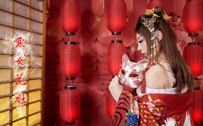 Picture girl, mask, Asian