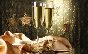 Picture stars, Shine, new year, glasses, beads, champagne, 2018