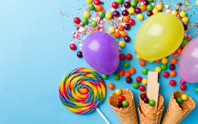 Picture ball, sweets, lollipops, horn, caramel