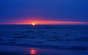 Picture sea, sunset, the evening
