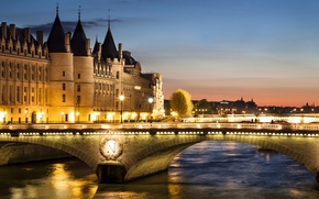 Picture sunset, bridge, lights, river, France, Paris, home, the evening, lights