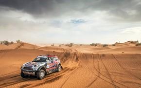 Picture Sand, Auto, Mini, Dust, Sport, Desert, Machine, Race, Hills, Rally, SUV, Rally, RedBull, X-Raid Team, …