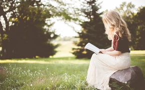Picture summer, girl, nature, book