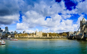 Picture the sky, clouds, river, England, London, building, home, panorama, Thames, boats, Sunny, Tower bridge, promenade