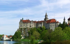 Picture greens, the sky, trees, landscape, river, castle, Germany, Sigmaringen Castle