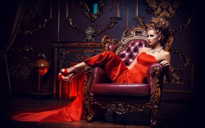 Picture girl, pose, interior, necklace, makeup, dress, hairstyle, shoes, brown hair, beautiful, sitting, in red, in ...