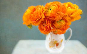 Picture bouquet, texture, pitcher, orange, Ranunculus