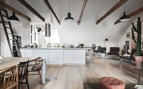 Picture interior, kitchen, scandinavian design, dining area