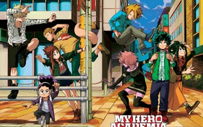 Wallpaper anime, My Hero Academia, hero, powerful, Boku no Hero Academy, city, student, manga, strong, yuusha