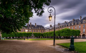 Picture France, Paris, building, area, lantern, fountain, Paris, France, Place des Vosges, Place Des Vosges