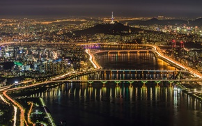 Picture the city, lights, panorama, megapolis, Seoul