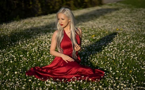 Picture face, red, model, dress, blonde, Adrijana