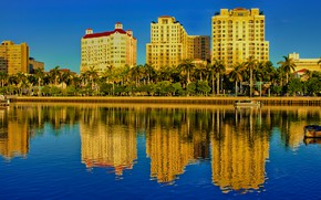 Picture the sky, the sun, palm trees, home, boats, FL, USA, promenade, Palm Beach