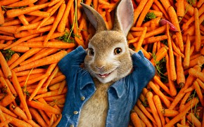 Picture happiness, cartoon, rabbit, lies, vegetables, poster, carrots, a bunch, radishes, Peter Rabbit, The Adventures Of ...