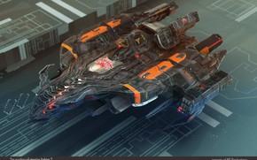 Picture design, transport, design, camera, The Earthmen Xterrian fighter ship